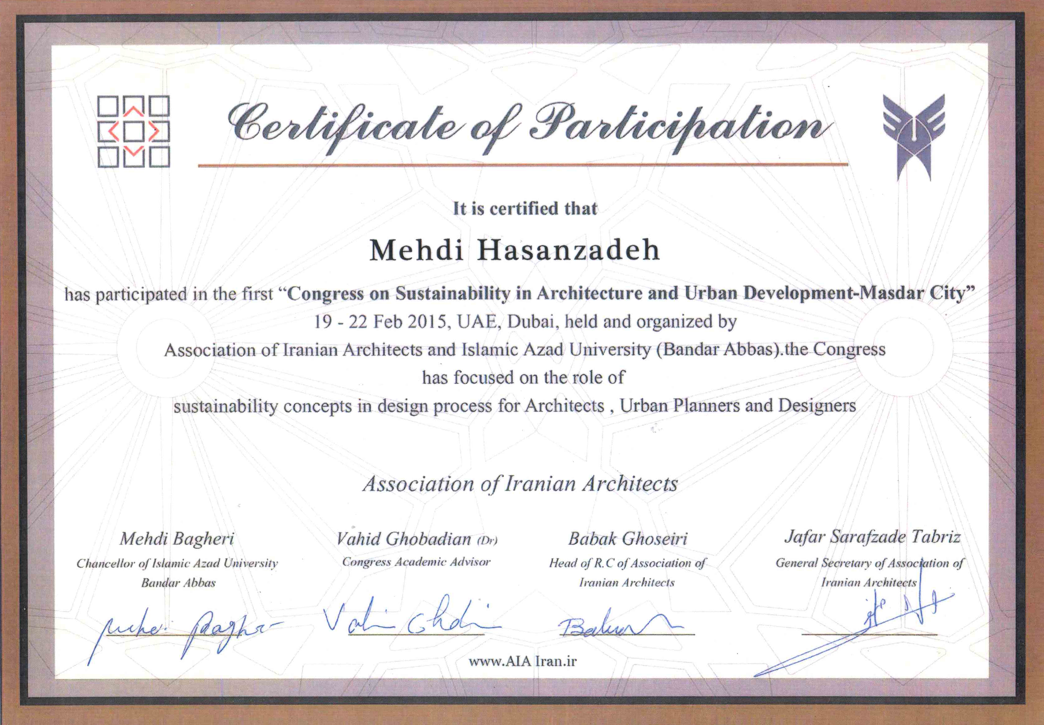 """Certificate of """"Congress on Sustainability in Architecture and Urban Development-Masdar City"""""""